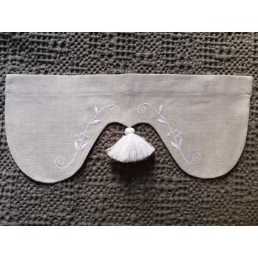 Cantonnière Lin Beige 45 x 19 brodée blanc N°5