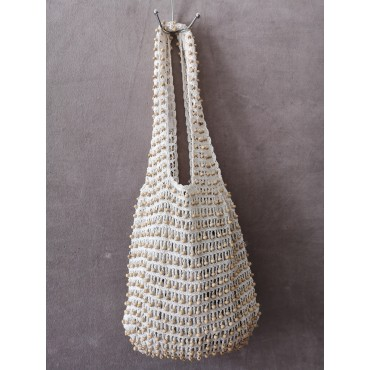 Sac Filet de Crochet Ecru + Perles en Bois