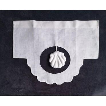 Cantonnière Lin Blanc 45 x 34 Suspension Coquille N°31   Rideau