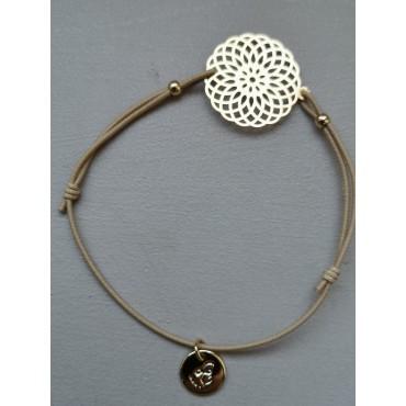 Bracelet ROSACE Dorée élastique Beige réglable  Bijou Les Cléias