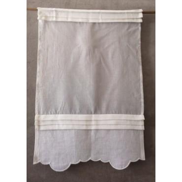 Brise-Bise Lin Blanc PLIS religieuses 45 x 70 Rideau N°212