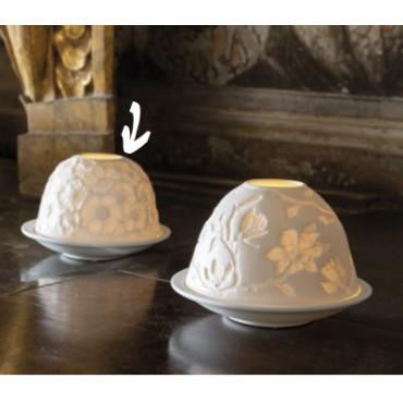 Photophore lithophanie Éclat floral Porcelaine - MATHILDE CREATIONS