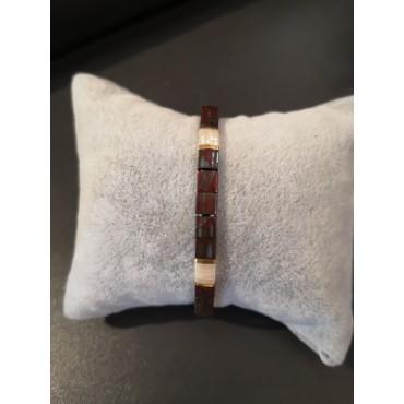 Bracelet MIYUKI Bordeaux/Blanc/Doré - Bijou MI030
